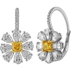 4.12 Carat Fancy Intense Yellow And White Diamonds Platinum Gold Daisy Earrings