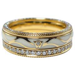 Wellendorff Enamel Diamond Yellow Gold Wings Eternity Band Ring