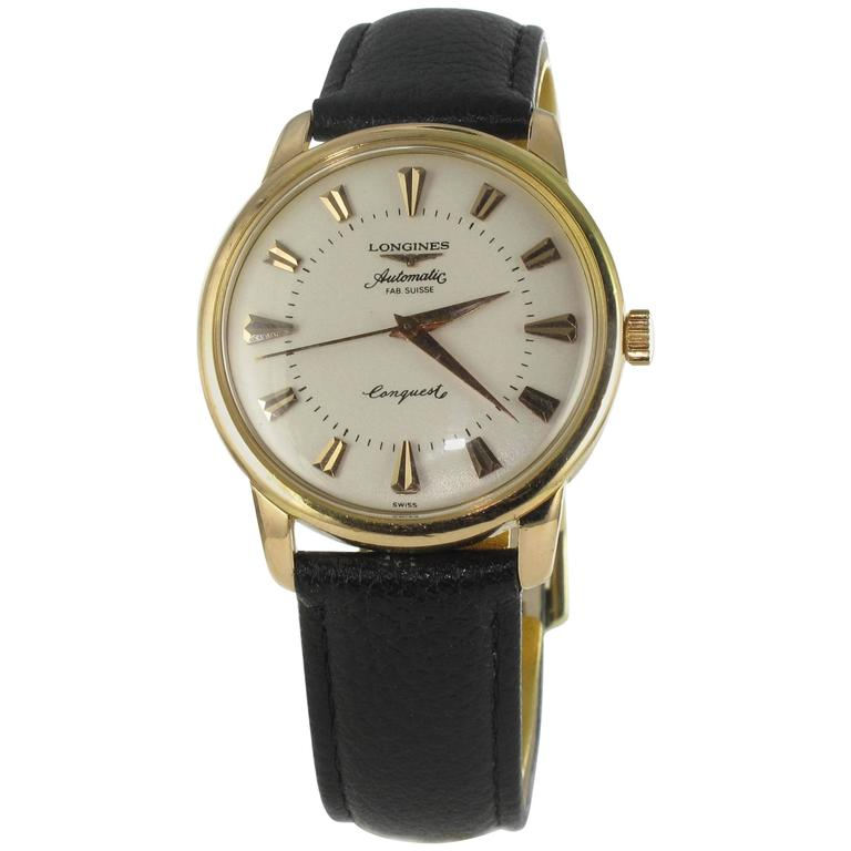 Longines Yellow Gold Conquest Heritage Wristwatch For Sale