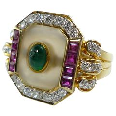 Rock Crystal Emerald White Diamond Ruby Yellow Gold Cocktail Ring