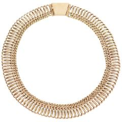 Flexible Gold Curb Chain Choker Necklace