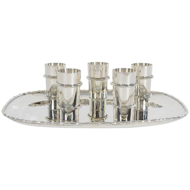 Antonio Pineda Silver Tray and Cups For Sale
