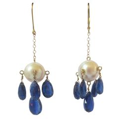 Pearl and Kyanite Briolette Dangle Earrings on a Gold Chain