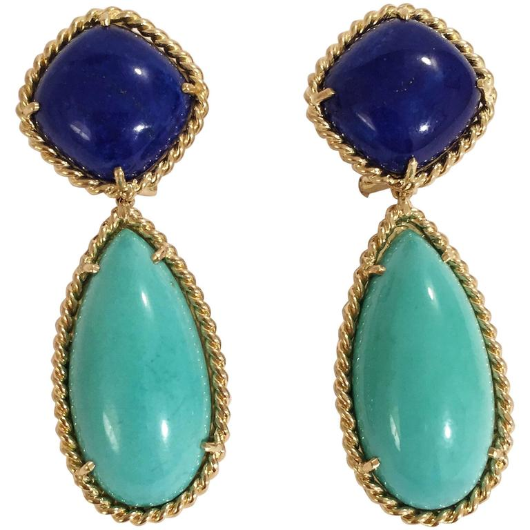 Elegant Lapis Turquoise Gold Rope Twist Edged Drop Earrings For Sale