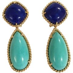 Elegant Lapis Turquoise Gold Rope Twist Edged Drop Earrings