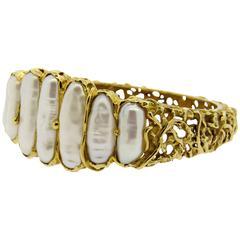 Brinkhaus Naturalistic Freshwater Pearl Gold Bangle Bracelet