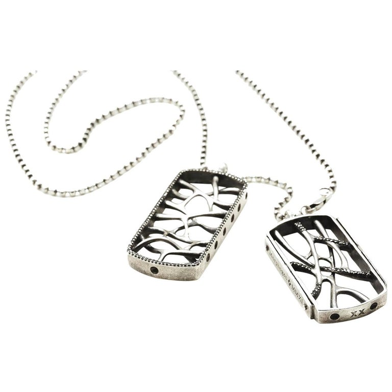 Sterling Silver Web Dog Tag Necklace For Sale