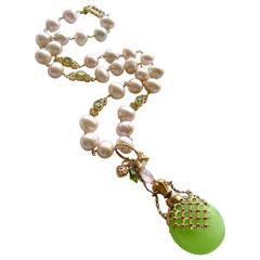 Kiwi Green Opaline Pink Baroque Pearls Peridot Chatelaine Scent Bottle Necklace