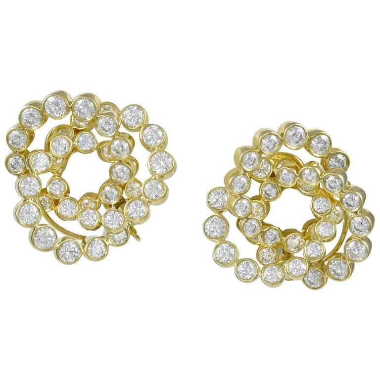 Verdura Gold And Diamond Trefoil Earrings For