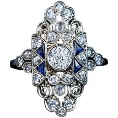 Ornate Art Deco Sapphire Diamond Gold Ring