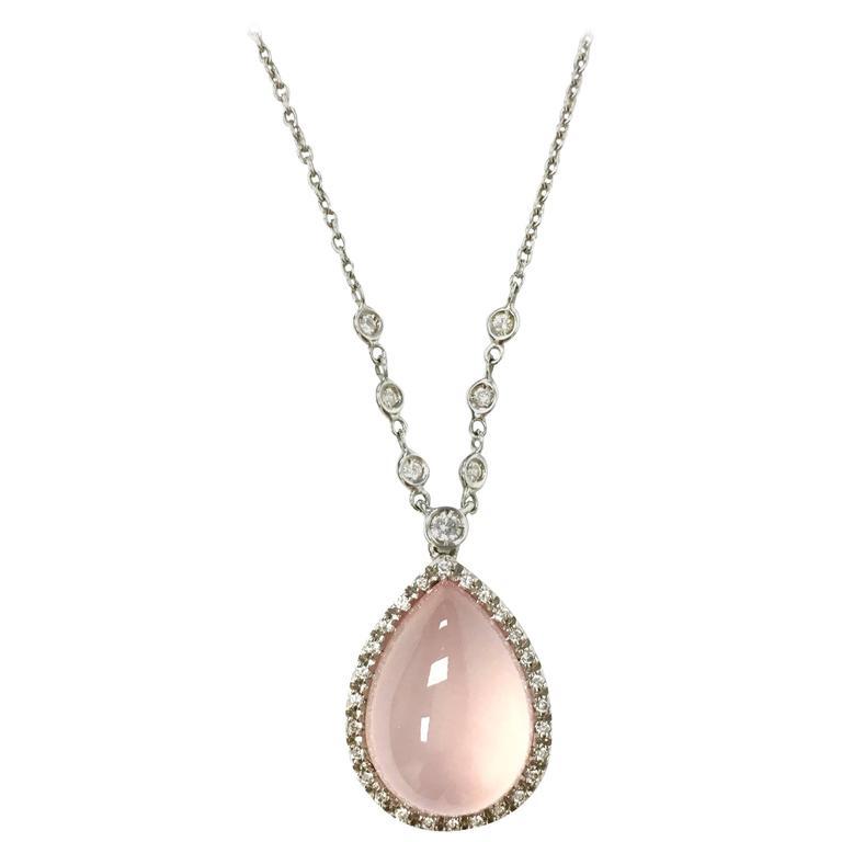 Favero Cabochon Rose Quartz Diamond Gold Necklace For Sale