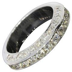 Scintillating Diamond Gold Three-Sided Channel Wedding Band Stack Ring