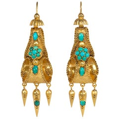 Early Victorian Turquoise Gold Scroll Design Earrings