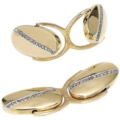 Diamond Gold Oval Cufflinks