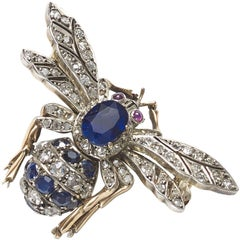 Sapphire Diamond and Ruby Bee Brooch