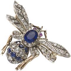 Sapphire Diamond and Ruby Bee Brooch