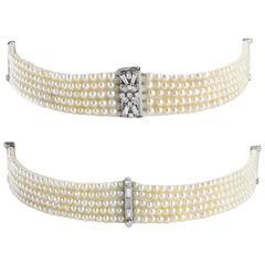 Five Row Pearl Diamond Choker Necklace