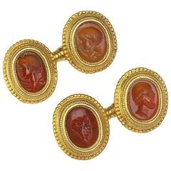 1920s Wiese Carnelian Intaglio Gold Cufflinks
