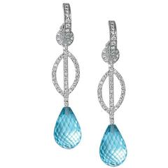 Linne Blue Topaz Diamond Gold Earrings