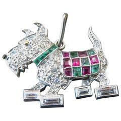Irresistible Emerald Ruby Diamond Platinum Scottie Dog Art Deco Charm/Pendant