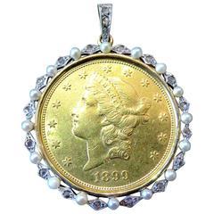 Classic Edwardian Natural Pearl Diamond Gold Platinum  $20 Gold Piece Pendant