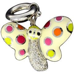 Aaron Basha Retired Diamond Gold Butterfly Polka Dot Charm
