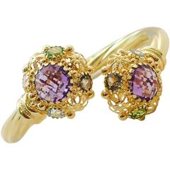Amethyst Citrine Peridot Aquamarine Gold By-Pass Design Hinged Bangle Bracelet