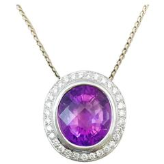 Amazing Amethyst Diamond Gold Necklace