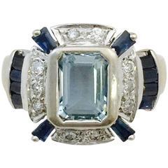 Aquamarine Sapphire Diamond Gold Ring