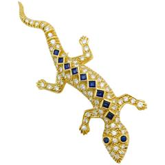 Sapphire Diamond Gold Lizard Brooch