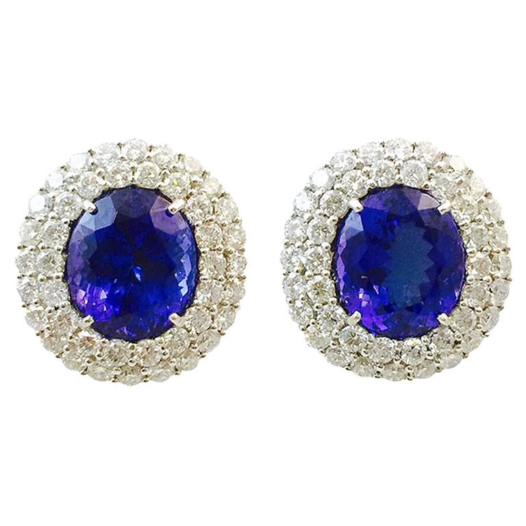 Tremendous Tanzanite and Diamond 18 Karat Gold Earrings