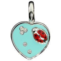 Aaron Basha Retired Diamond Gold Ladybug Heart Charm