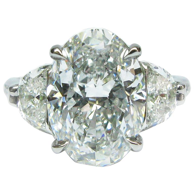 gia 450 carat oval diamond and platinum engagement ring