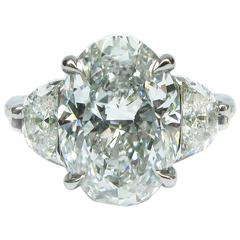 GIA 4.50 Carat E VS2 Oval Diamond and Platinum Engagement Ring by J Birnbach