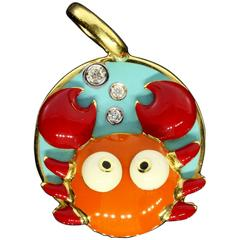 Aaron Basha Diamond Gold Cancer Zodiac Crab Charm