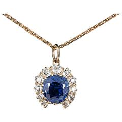 1870s Fine Natural Coloured Ceylon Sapphire Diamond Gold Pendant