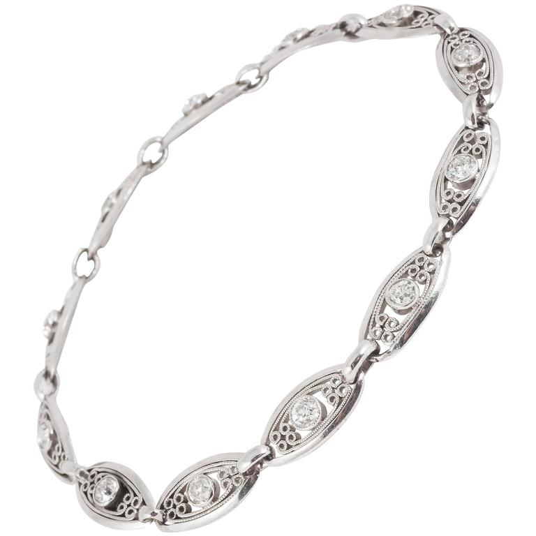 1920s French Old Cut Diamond Platinum Bracelet