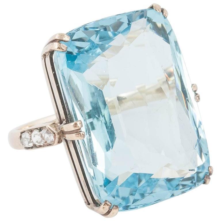 35 Plus Carats Aquamarine Diamond Gold Ring