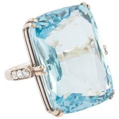 35 Plus Carats Aquamarine Diamond Gold Ring