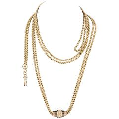 19th Century Long Gold Chain With Sliding Enhancer