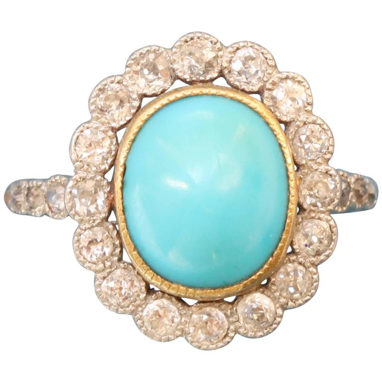 Edwardian Turquoise Diamond Gold Cluster Ring 1