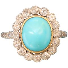 Edwardian Turquoise Diamond Gold Cluster Ring
