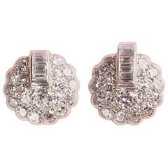 Art Deco Diamond Platinum Earrings