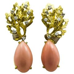 Tiffany & Co. Angel Skin Coral Gold Leaf Design Clip-On Earrings