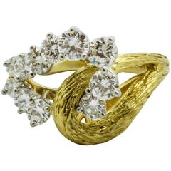 Diamond Two Color Gold Double Loop Ring