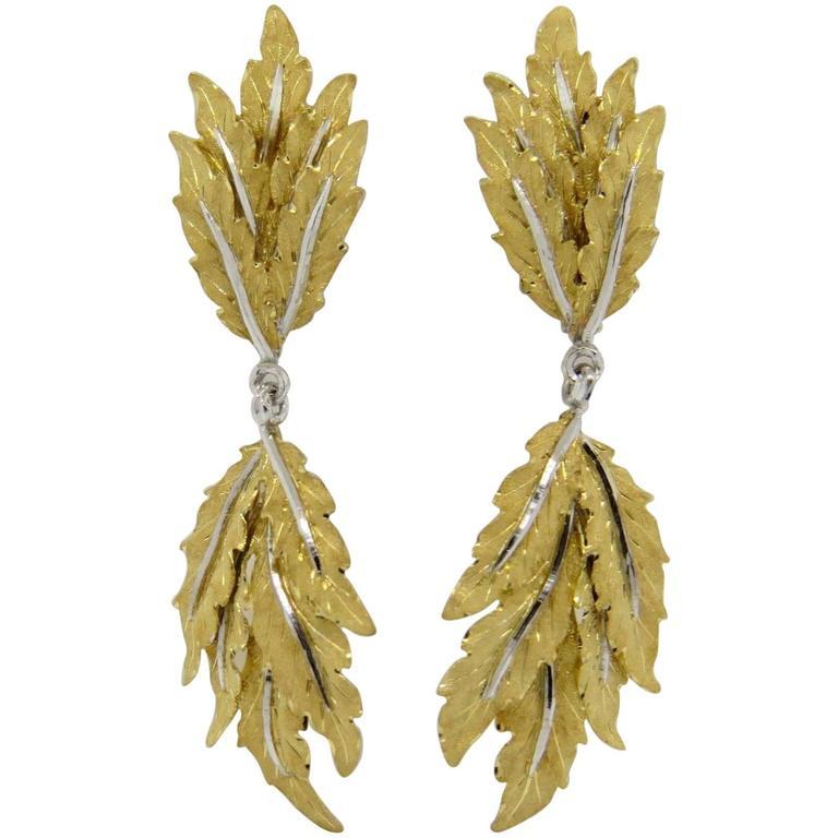 Buccellati Gold Leaf Motif Long Drop Earrings