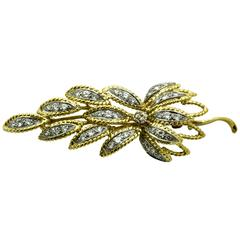 Retro Diamond Two Color Gold Leaf Brooch