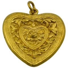 Antique Hand Carved Gold Heart Pendant