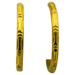 Gold Bamboo-Style Hoop Earrings