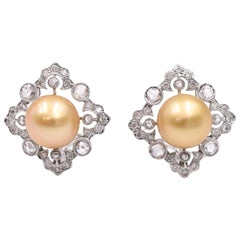 Gold Pearl Diamond Clip-On Earrings